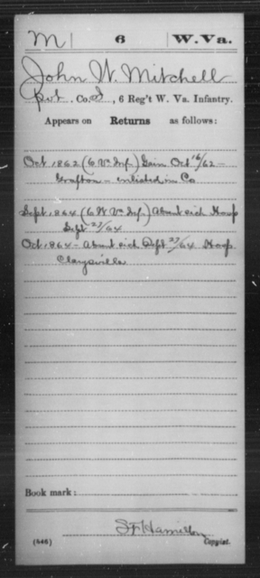 Mitchell, John W - Age [Blank], Year: 1862 - Miscellaneous Card Abstracts of Records - West Virginia