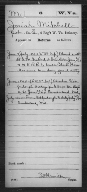 Mitchell, Josiah - Age [Blank], Year: 1863 - Miscellaneous Card Abstracts of Records - West Virginia