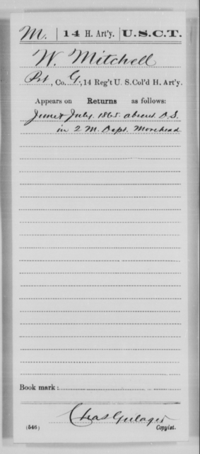 Mitchell, W - Age [Blank], Year: 1865 - 14th US Colored Heavy Artillery, Wi-Y AND Misc Cards - United States Colored Troops: Artillery Organizations