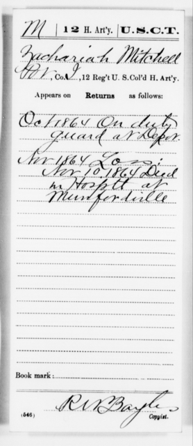 Mitchell, Zachariah - Age [Blank], Year: 1864 - 12th US Colored Heavy Artillery, Misc Cards, H-Y - United States Colored Troops: Artillery Organizations