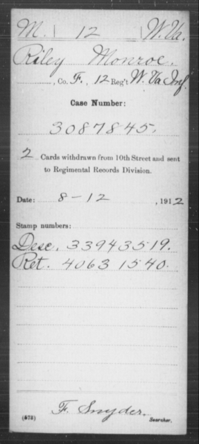 Monroe, Riley - Age [Blank], Year: [Blank] - Miscellaneous Card Abstracts of Records - West Virginia