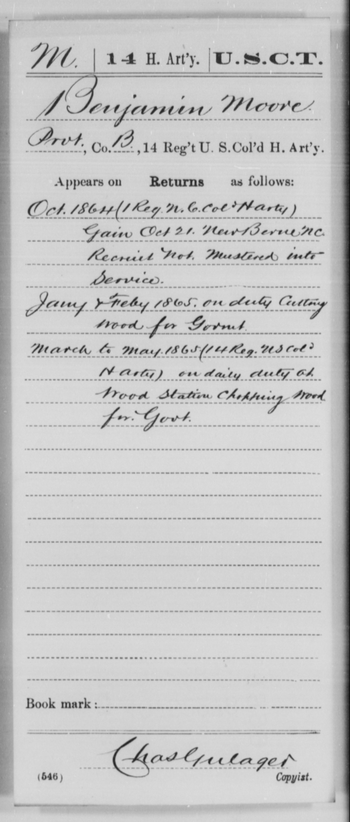 Moore, Benjamin - Age [Blank], Year: 1864 - 14th US Colored Heavy Artillery, Wi-Y AND Misc Cards - United States Colored Troops: Artillery Organizations