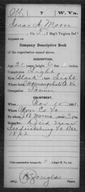 Moore, Isaac A - Age 21, Year: 1861 - Miscellaneous Card Abstracts of Records - West Virginia