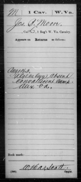 Moore, Jos B - Age [Blank], Year: 1863 - Miscellaneous Card Abstracts of Records - West Virginia