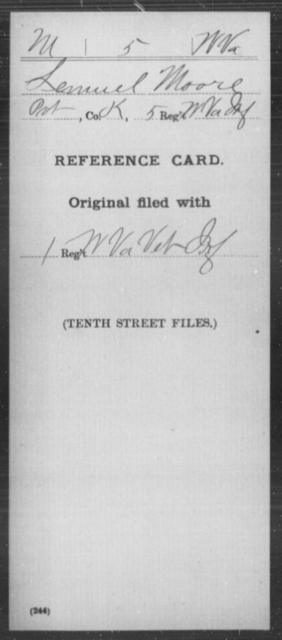 Moore, Lemuel - Age [Blank], Year: [Blank] - Miscellaneous Card Abstracts of Records - West Virginia