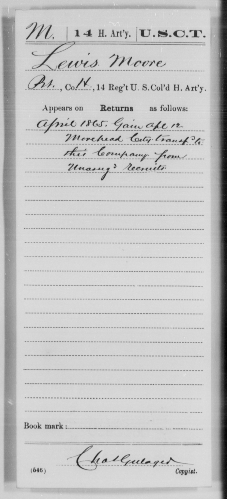 Moore, Lewis - Age [Blank], Year: 1865 - 14th US Colored Heavy Artillery, Wi-Y AND Misc Cards - United States Colored Troops: Artillery Organizations