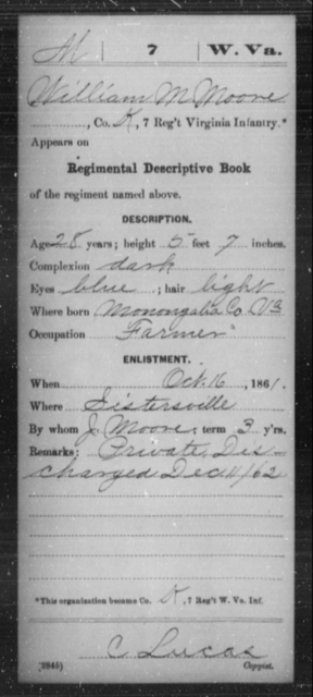 Moore, William M - Age 58, Year: 1861 - Miscellaneous Card Abstracts of Records - West Virginia