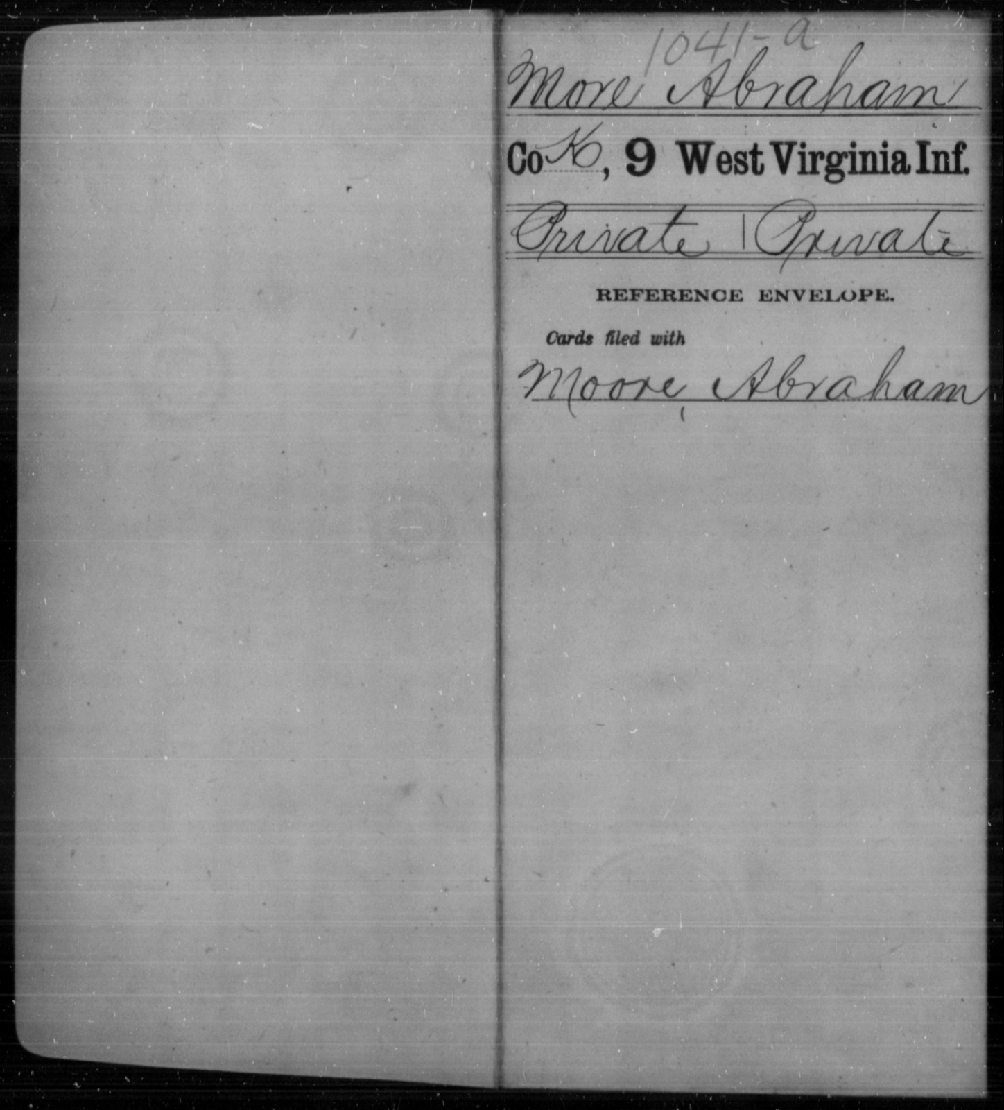 More, Abraham - Age [Blank], Year: [Blank] - Ninth Infantry - West Virginia