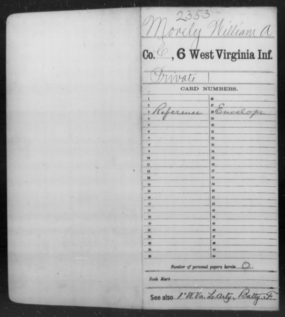 Morely, William A - Age [Blank], Year: [Blank] - Sixth Infantry - West Virginia