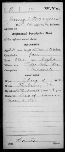 Morgan, James - Age 23, Year: 1862 - Miscellaneous Card Abstracts of Records - West Virginia