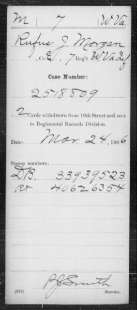 Morgan, Rufus J - Age [Blank], Year: [Blank] - Miscellaneous Card Abstracts of Records - West Virginia