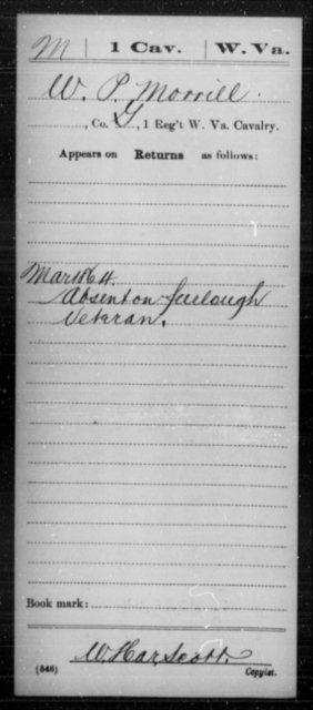 Morrill, W P - Age [Blank], Year: 1864 - Miscellaneous Card Abstracts of Records - West Virginia