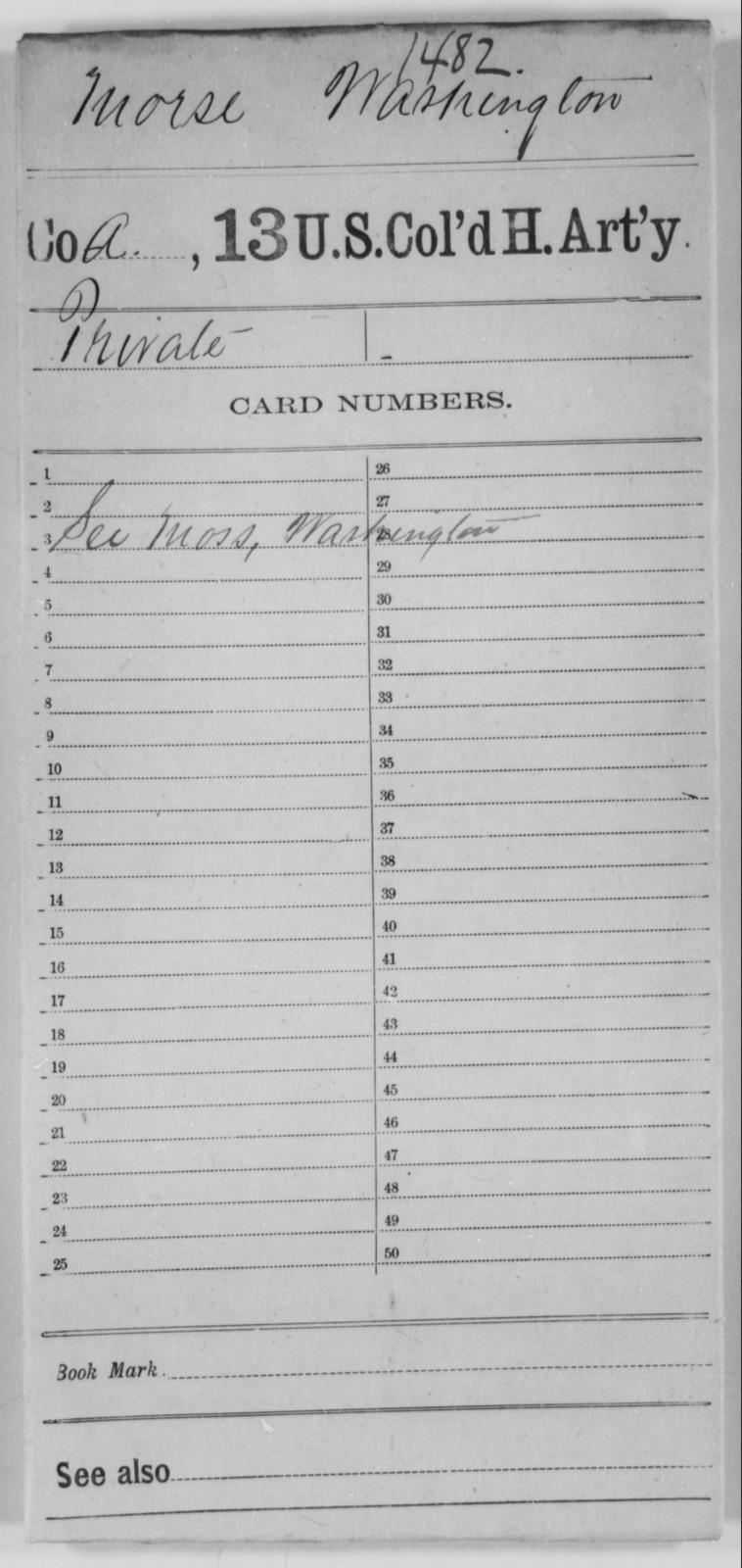 Morse, Washington - Age [Blank], Year: [Blank] - 13th US Colored Heavy Artillery - United States Colored Troops: Artillery Organizations