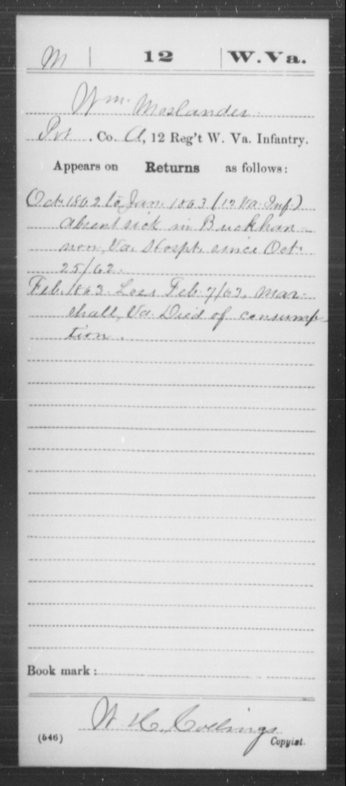 Moslander, Wm - Age [Blank], Year: 1862 - Miscellaneous Card Abstracts of Records - West Virginia