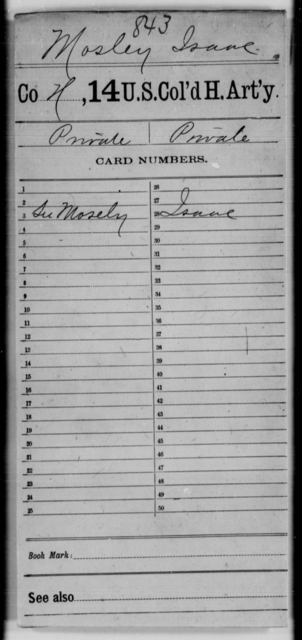 Mosley, Isaac - Age [Blank], Year: [Blank] - 14th US Colored Heavy Artillery - United States Colored Troops: Artillery Organizations
