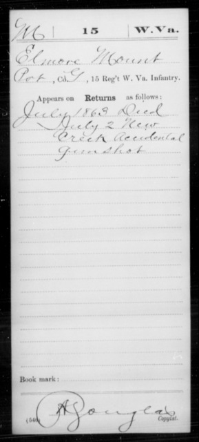 Mount, Elmore - Age [Blank], Year: 1863 - Miscellaneous Card Abstracts of Records - West Virginia