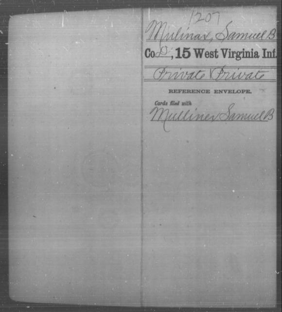 Mulinax, Samuel B - Age [Blank], Year: [Blank] - Fifteenth Infantry - West Virginia