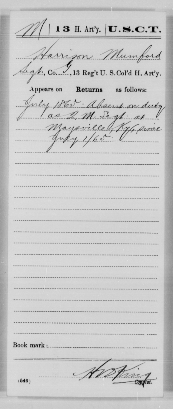 Mumford, Harrison - Age [Blank], Year: 1865 - 13th US Colored Heavy Artillery, Misc Cards - United States Colored Troops: Artillery Organizations