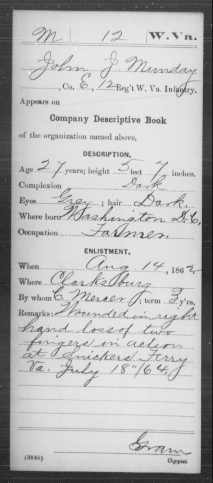 Munday, John J - Age 27, Year: 1862 - Miscellaneous Card Abstracts of Records - West Virginia