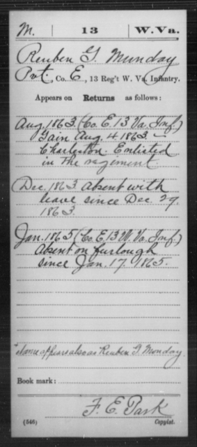 Munday, Reuben G - Age [Blank], Year: 1863 - Miscellaneous Card Abstracts of Records - West Virginia