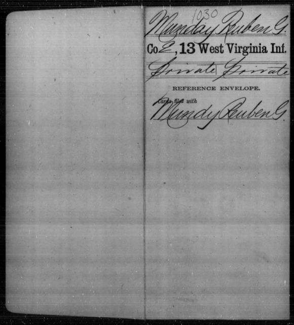 Munday, Reuben G - Age [Blank], Year: [Blank] - Thirteenth Infantry, A-W - West Virginia