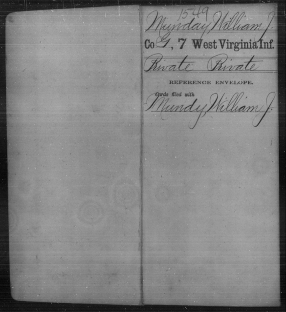 Munday, William J - Age [Blank], Year: [Blank] - Seventh Infantry - West Virginia