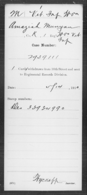 Munyan, Amaziah - Age [Blank], Year: [Blank] - Miscellaneous Card Abstracts of Records - West Virginia