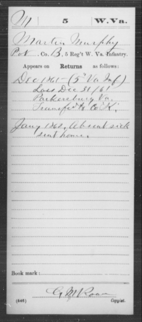 Murphy, Martin - Age [Blank], Year: 1861 - Miscellaneous Card Abstracts of Records - West Virginia