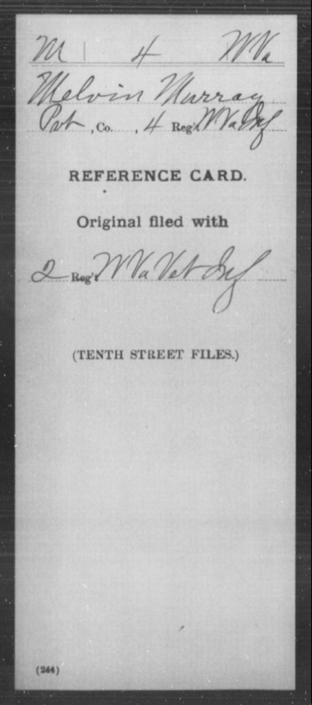 Murray, Melvin - Age [Blank], Year: [Blank] - Miscellaneous Card Abstracts of Records - West Virginia