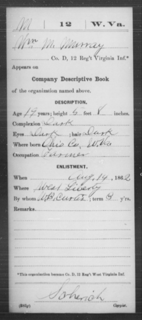 Murray, Wm M - Age 19, Year: 1862 - Miscellaneous Card Abstracts of Records - West Virginia