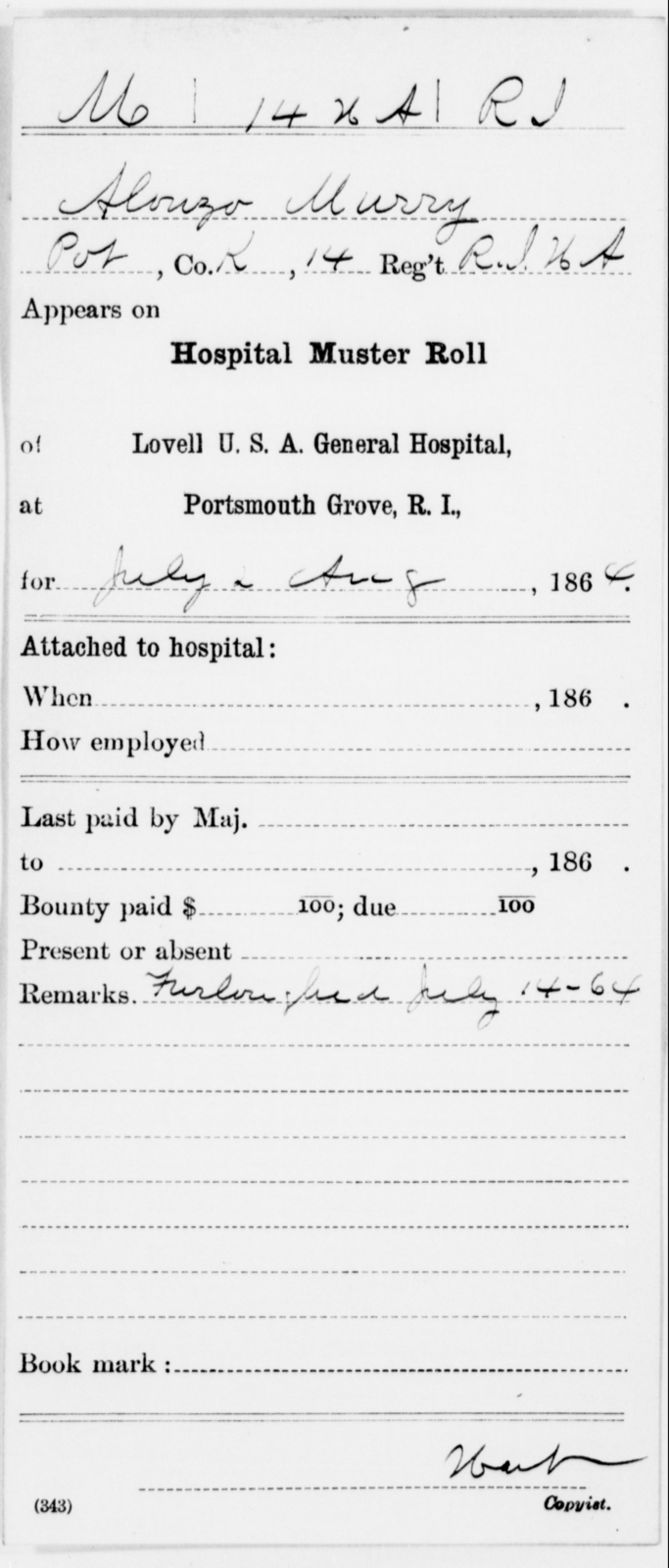 Murry, Alonzo - Age [Blank], Year: 1864 - 11th US Colored Heavy Artillery, Misc Cards, E-Y - United States Colored Troops: Artillery Organizations