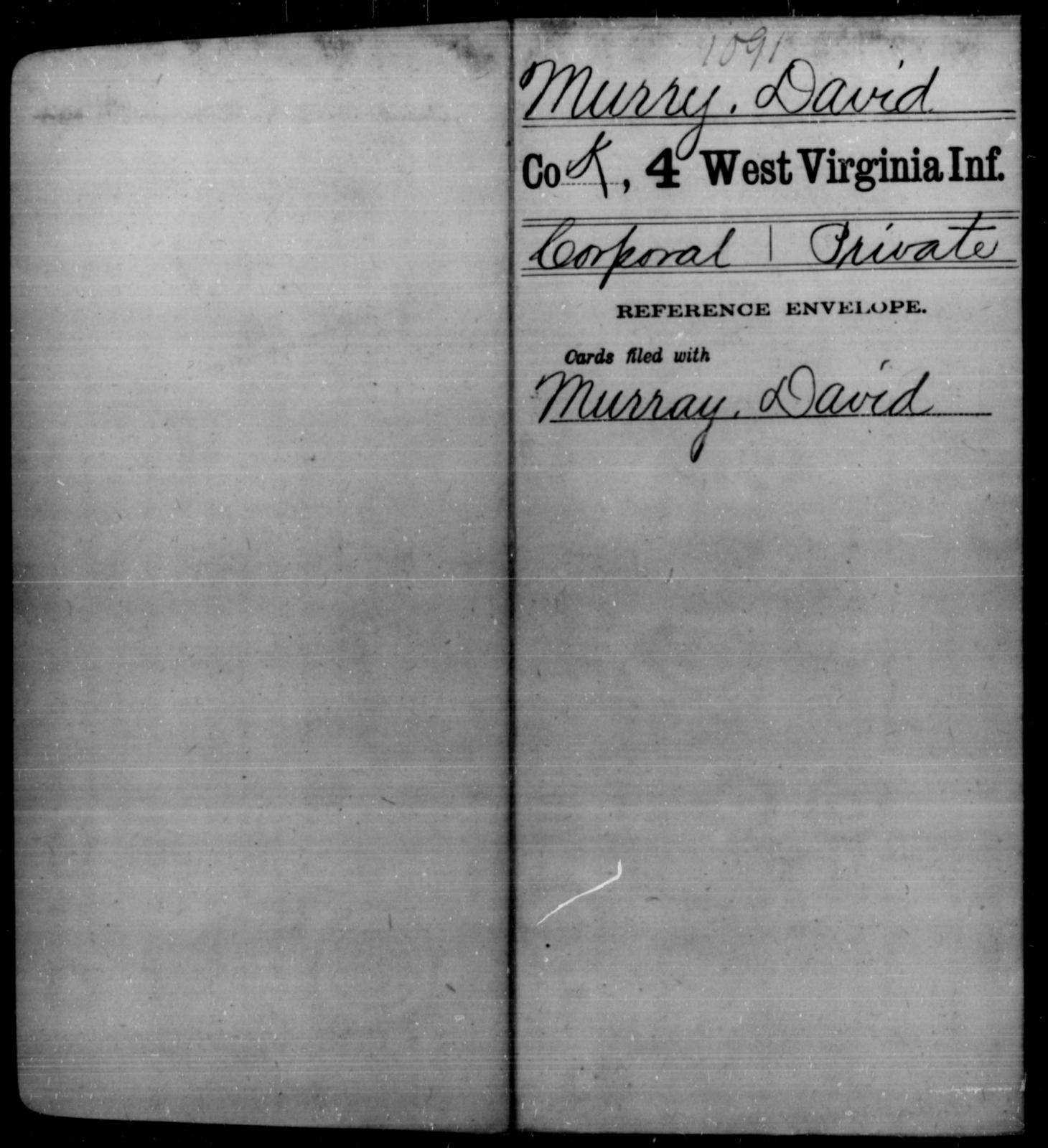 Murry, David - Age [Blank], Year: [Blank] - Fourth Infantry, Bo-Z - West Virginia