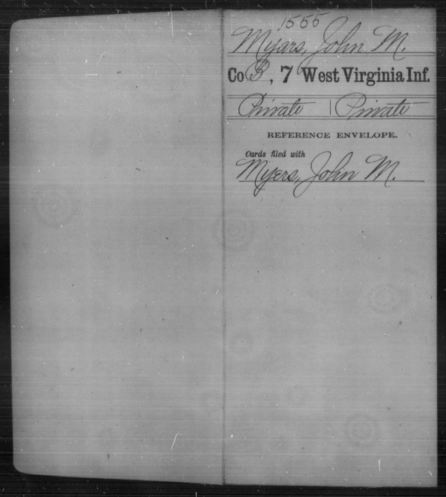 Myars, John M - Age [Blank], Year: [Blank] - Seventh Infantry - West Virginia