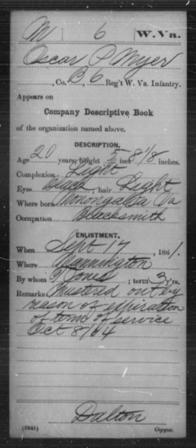 Myer, Oscar - Age 20, Year: 1861 - Miscellaneous Card Abstracts of Records - West Virginia