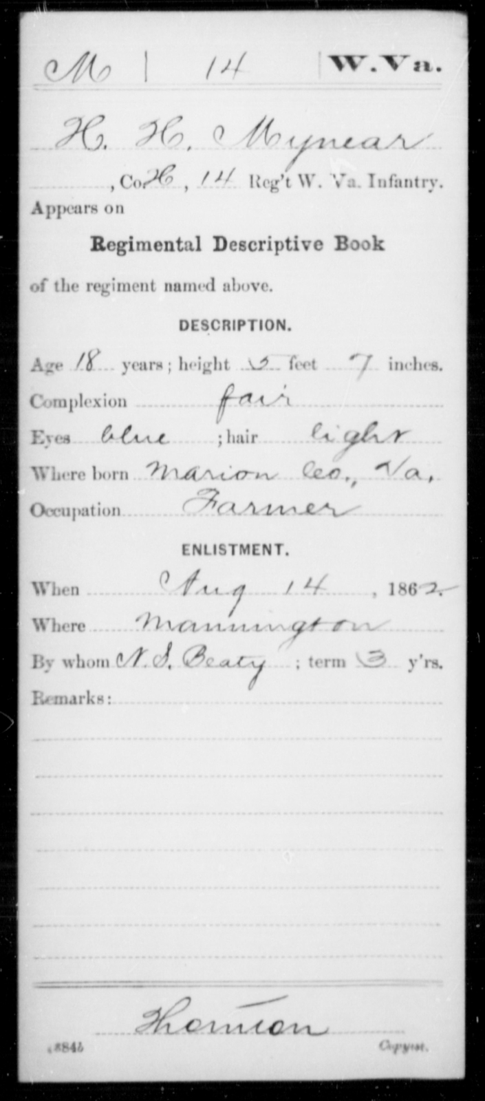 Mynear, H H - Age 18, Year: 1862 - Miscellaneous Card Abstracts of Records - West Virginia
