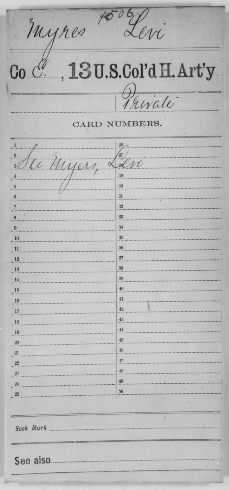 Myres, Levi - Age [Blank], Year: [Blank] - 13th US Colored Heavy Artillery - United States Colored Troops: Artillery Organizations