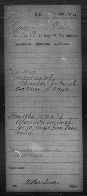 Nair, Eugene W - Age [Blank], Year: 1862 - Miscellaneous Card Abstracts of Records - West Virginia
