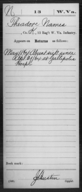 Names, Theadore - Age [Blank], Year: 1864 - Miscellaneous Card Abstracts of Records - West Virginia