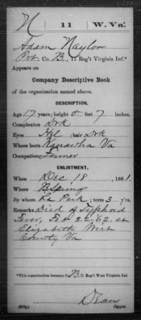 Naylor, Adam - Age 17, Year: 1861 - Miscellaneous Card Abstracts of Records - West Virginia