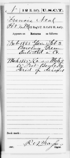 Neal, Francis - Age [Blank], Year: 1865 - 12th US Colored Heavy Artillery, Misc Cards, H-Y - United States Colored Troops: Artillery Organizations