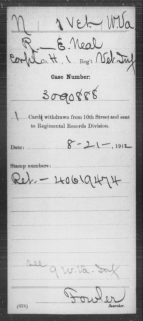 Neal, R E - Age [Blank], Year: [Blank] - Miscellaneous Card Abstracts of Records - West Virginia