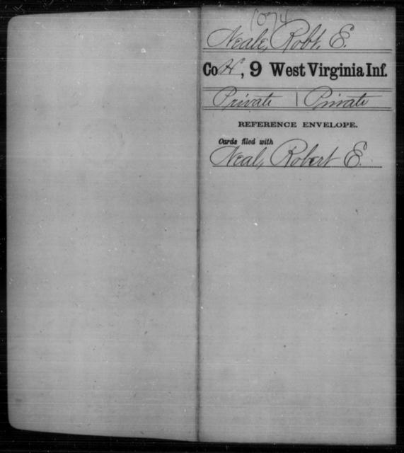 Neale, Robt E - Age [Blank], Year: [Blank] - Ninth Infantry - West Virginia