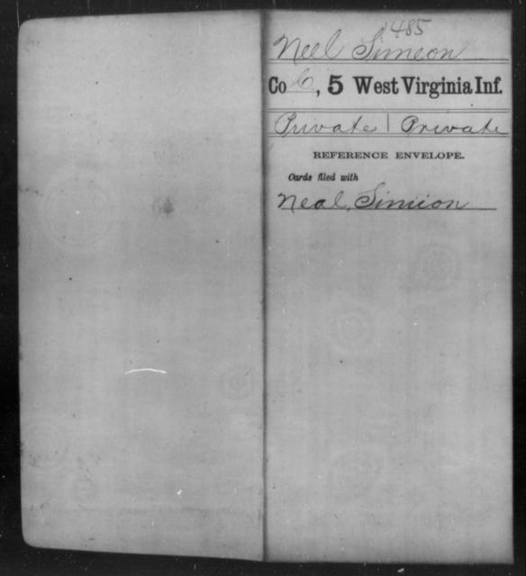 Neel, Simeon - Age [Blank], Year: [Blank] - Fifth Infantry - West Virginia