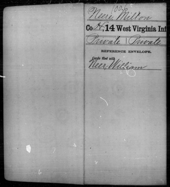 Neere, Milton - Age [Blank], Year: [Blank] - Fourteenth Infantry, C-Z - West Virginia