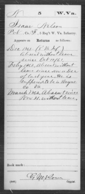 Nelson, Isaac - Age [Blank], Year: 1861 - Miscellaneous Card Abstracts of Records - West Virginia