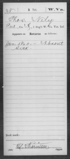 Nely, Thos - Age [Blank], Year: 1865 - Miscellaneous Card Abstracts of Records - West Virginia