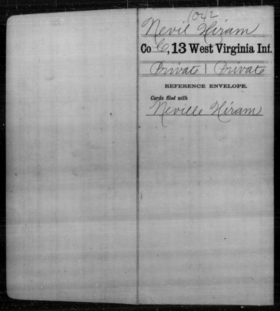 Nevil, Hiram - Age [Blank], Year: [Blank] - Thirteenth Infantry, A-W - West Virginia