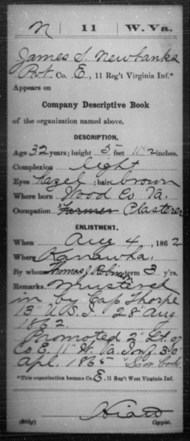 Newbanks, James S - Age 32, Year: 1862 - Miscellaneous Card Abstracts of Records - West Virginia