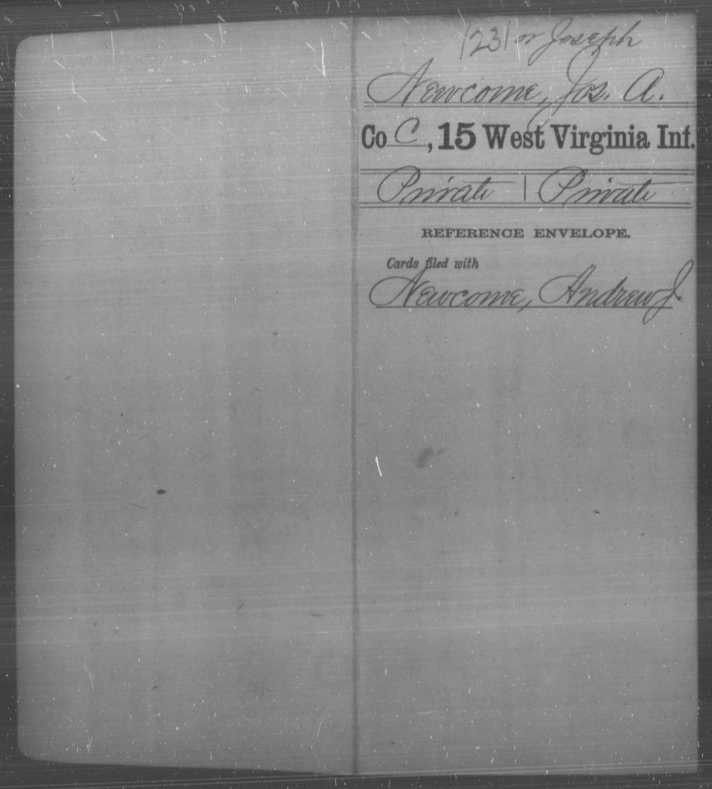 Newcome, Jos A - Age [Blank], Year: [Blank] - Fifteenth Infantry - West Virginia