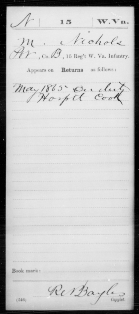 Nichols, M - Age [Blank], Year: 1865 - Miscellaneous Card Abstracts of Records - West Virginia
